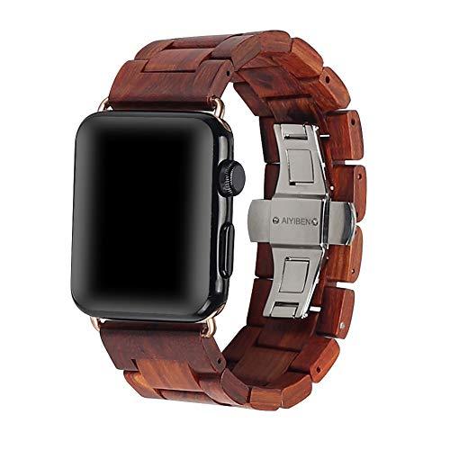 AIYIBEN 100% Umweltfreundlich Natürliche handgemachte Holz Armbanduhr Ersatzband Gurt Armband mit Adapter Doppel Faltschließe Buckle für iWatch Armbanduhr.(42/44mm Red)