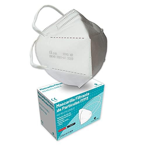 Audix Bitee 20 Mascarillas FFP3 - Maxima Protección - Homologada CE - Eficiencia 99% - Gomas largas para sujeción desde la cabeza - Envuelta Individualmente - Paquete 20 unidades