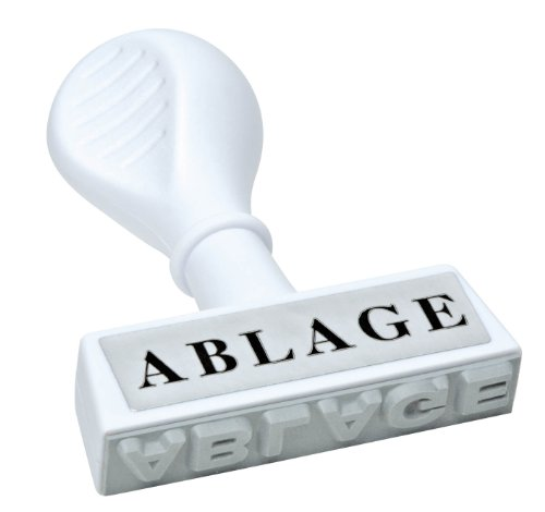 WEDO 1935 Lagertext Stempel ABLAGE, Kunststoff, Abdruckbreite ca. 45 mm, ergonomischer Griff, weiß