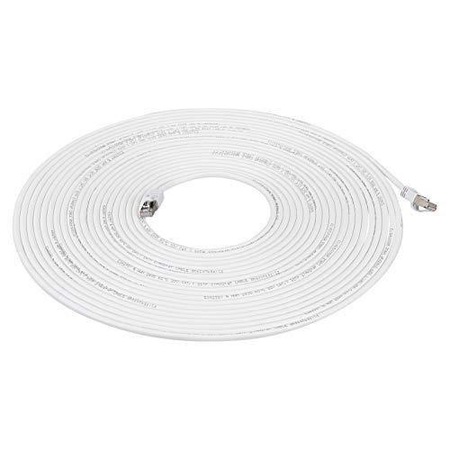 AmazonBasics - Cable para internet Ethernet Gigabit de banda ancha RJ45 Cat 7, color blanco, 9,1 m