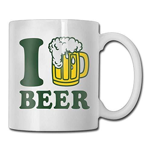 huatongxin I Love Beer Tazas de café de 11 oz Travel Gift Ceramic Tea CupPerfect Gift for Family and Friend