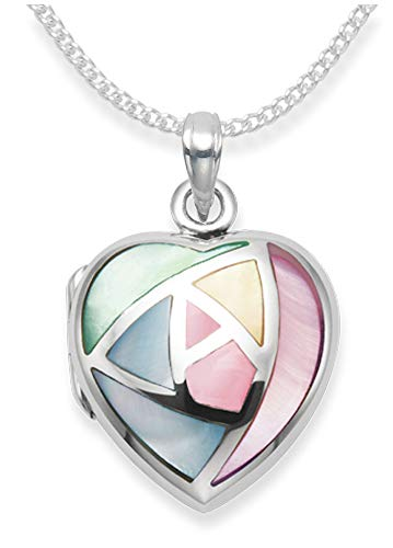 GENUINE 925 Sterling Silver Mother of Pearl Heart Locket Necklace on 18' curb chain - SIZE:19mm.8392/18