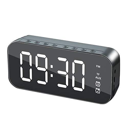 Mothcattl Radio Multifunción con Altavoz De Escritorio Inalámbrico Bluetooth 5.0, Altavoz De Radio Reloj con Tarjeta De Inserción con Función De Carga USB para El Hogar Negro