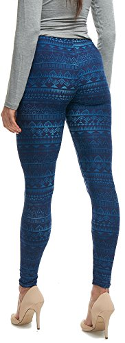ush Moda Extra Soft Leggings with Designs- Variety of Prints - Navy Aztec 049F …