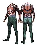 Arthur Curry Cosplay Aquaman Disfraz Body Fiesta de Halloween Mono Conjunto de Cuerpo Completo para niños Conjunto de Cuerpo de Mascarada Disfraz de Mascarada Película-Adult-XXXL