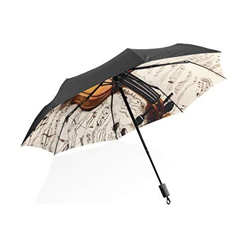 Chic Regenschirme Für Frauen Alte Violine Noten Und DREI Roses401354107 Tragbare Kompakte Taschenschirm Anti Uv Schutz Winddicht Outdoor Reise Frauen Bunte Regenschirme
