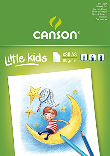 Bloc Encolado, A3, 30 Hojas, Canson Kids Dibujo 90g