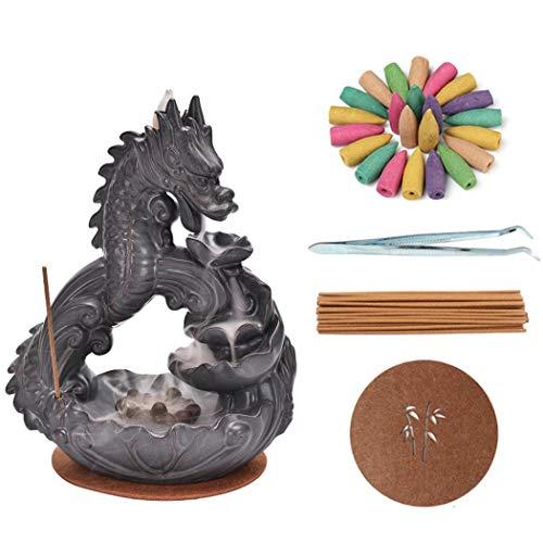 Quemador de incienso de Dragon Backflow, soporte de incienso de cerámica con 20 conos de incienso y 30 varillas de incienso para decoración del hogar