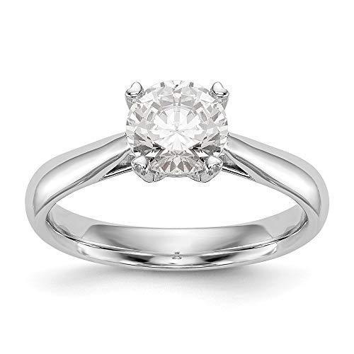 Anillo de compromiso solitario de oro blanco de 14 quilates VS1/VS2, D E, diamante cultivado en laboratorio para mujer