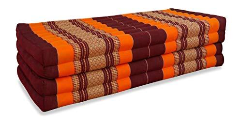 livasia Klappmatratze extrabreit (195cm x 110cm) aus Kapok, Faltbare Gästematratze, klappbare Matratze, asiatische Faltmatratze (orange)