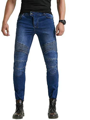 LINGKY Pantaloni Da Moto, Per Uomo, Jeans In Denim Per Motociclismo Con Armatura E 4 Ginocchiere (Blu,L)