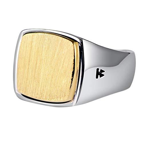 ANAZOZ Ring 925 Silber Herren Gebürsteter Gold Siegelring 14Mm Ring Punk Rock Ring Verlobungsring Herrenring Retro Herrenringe Punk Silber Gold Punk Schmuck für Männer Größe:62 (19.7)
