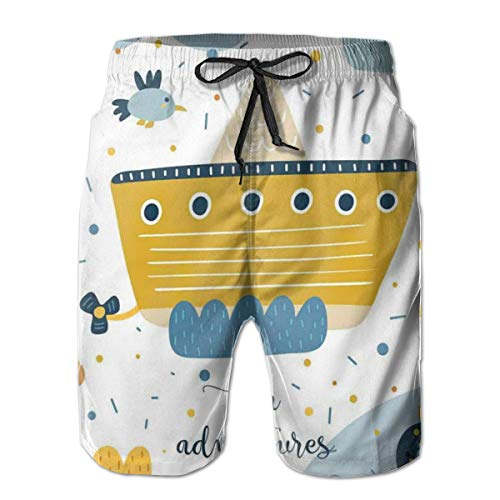 DHNKW Swimming Shorts Funny Printed,Sea Adventures Icons Ship Baby Whale Puffy Clouds Fishes,Quick Dry Beach Board Trunks with Mesh Lining,Medium