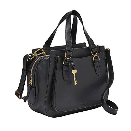 Fossil Women's Brooke Leather Satchel Purse Handbag, Black