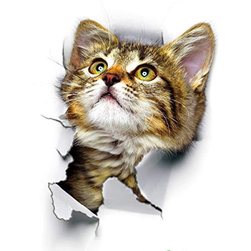 HaiQianXin 1 stuk 5D Gat Pop Out Cat Vivid Smashed Toilet Decal Grappige sticker voor badkamer Kicthen Sticker Decoratieve dieren schild PVC (kleur: 01# (16,5 x 25 cm)