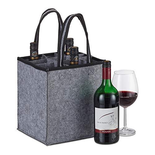Relaxdays Flaschentasche, 9 Flaschen, Flaschenträger für Wein, Bier, Leergut Sammelbehälter, HxBxT 45 x 24 x 24 cm, Grau