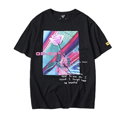 NOBRAND - Camiseta de manga corta para hombre con estampado de rosas inglesas y cuello redondo suelto, para hombre y mujer, para pareja de estudiantes