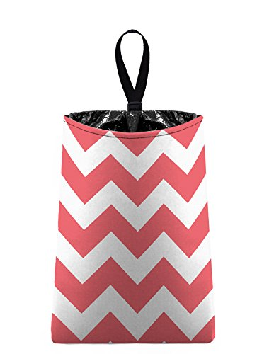 The Mod Mobile Auto Trash (Chevrons - Coral Pink) by car trash bag litter bag garbage can for your automobile