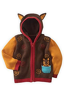 Joobles Organic Baby Cardigan Sweater - Silly The Fox (0-6 Months) Brown