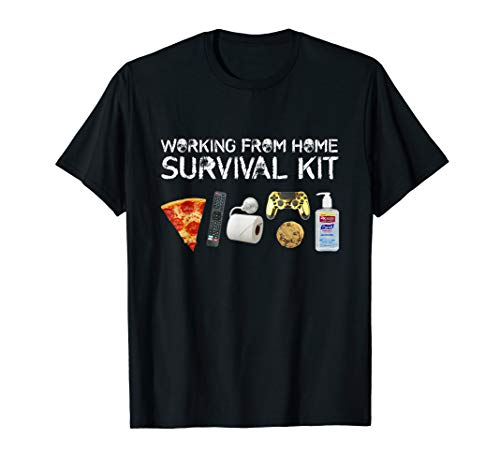 Working From Home Survival Kit Funny Quarantine Teleworking T-Shirt