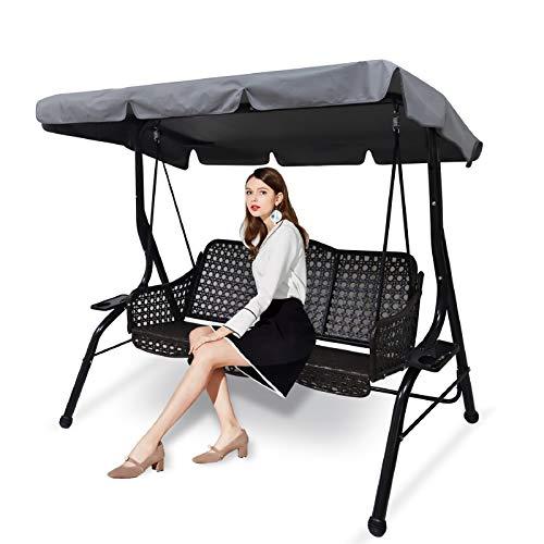 Ersatzdach Gartenschaukel Universal Hollywoodschaukel 3 Sitzer Ersatz Bezug Sonnendach Schaukel Dach (Large, Grau)