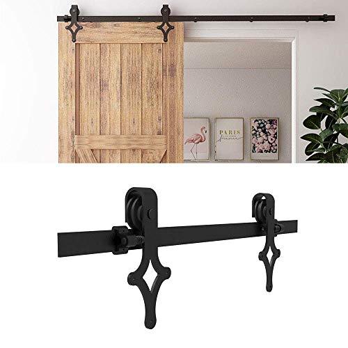 CCJH - Kit de riel para puerta corredera, 225 cm, color negro (forma de diamant)