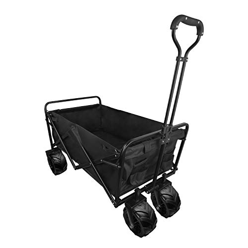Collapsible Beach Wagon Cart with Wheels Utility Portable Collapsible Outdoor Folding Camping Cart Picnic and Yard Work Cart Garden Carts Heavy Duty Hand Cart Support 165 lbs Foldable