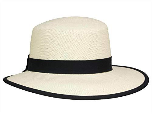 Hut-Kaufen Damen Schute Sonnenhut aus Panamastroh - Weiß/Marine (weiß/Navy) - 54-55 cm (S)