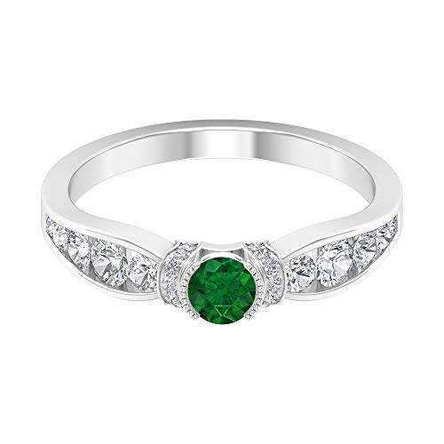 Rosec Jewels 14 quilates oro blanco redonda round-brilliant-shape H-I Green Diamond Emerald