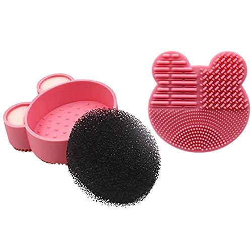 Kit de nettoyage pour pinceau de maquillage Design à double face avec boîte de nettoyage pour éponge à enlever la couleur à sec et cosmétique et instantanément