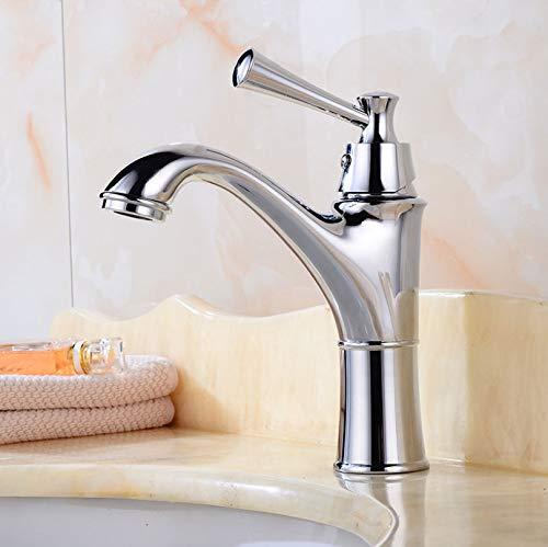 Wastafel Kraan Vintage stijl Eengreeps Wastafelkranen Messing Toilet Vanity Mixer Warm en Koud Gepolijst chroom