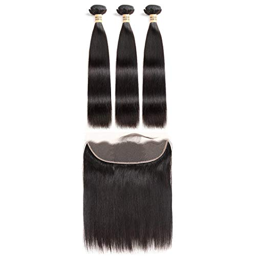 Hair 3 Bundles Human Hair Bundles With Frontal Brazilian Straight Hair Weave Natural Black 100% Remy Hair Extensions Middle Part 28 28 28 & Closure20