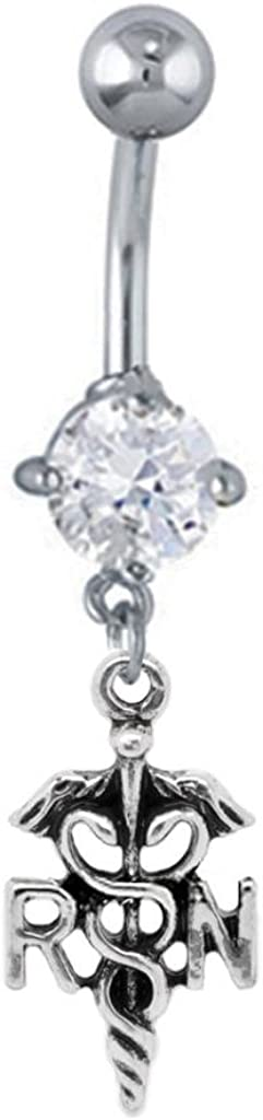 Clear cz RN Medical Sign Dangle Nurse Belly Button Navel Ring Piercing bar Body Jewelry 14g
