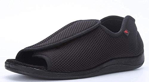 B/H Calzado OrtopéDico Ajustable para Artritis,Zapatos de Tela con Velcro Ajustable, Zapatos deformados con Pulgares-C Negro_44,Zapatos De Punta Abierta Ajustables