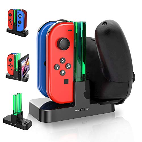 Ladestation Für Nintendo Switch, Gifort Switch Joy-Con 4 in 1 Ladestation mit LED-Anzeige und 1 Typ-C USB Port für Switch Konsole/Pro Controller