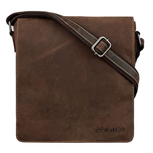 STILORD 'Gerry' Kleine Leder Messenger Bag Hochformat Umhängetasche für 9,7 Zoll iPad Tasche Echtes Leder im Modernen Vintage Stil, Farbe:Sierra - braun