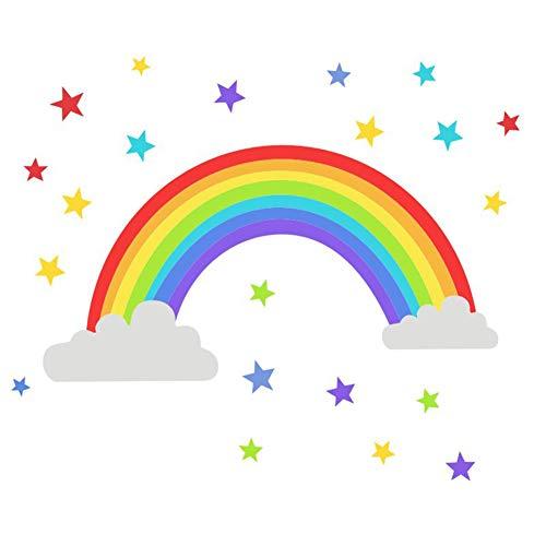iTemer 1 pieza pegatinas de estrellas del arco iris creativas para niños guardería pegatinas decorativas autoadhesivas de vinilo pegatinas de pared 26 * 50CM