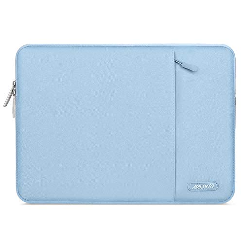 MOSISO Laptop Sleeve Compatible with 2019 2018 MacBook Air 13 inch Retina Display A1932, 13 inch MacBook Pro A2159 A1989 A1706 A1708, Notebook, Polyester Vertical Bag with Pocket, Airy Blue