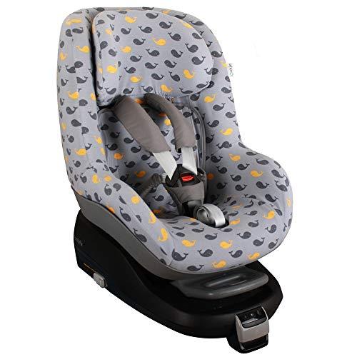 Fundas Para Sillas de Algodón Oeko-Tex para Silla de Coche Maxi Cosi Pearl y 2 Way Pearl Funda Silla Garantiza la Comodidad de la Piel del Bebé y Ayuda a no Sudar Ballenas Grises