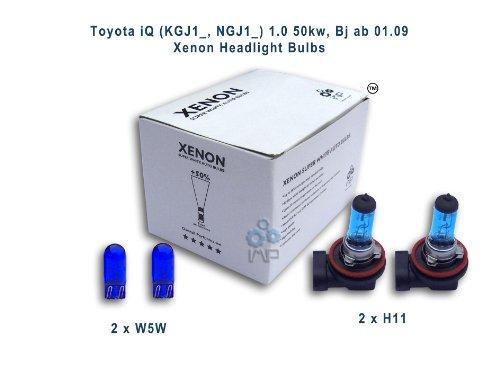 Toyota iQ (KGJ1_, NGJ1_) 1,0 50kw, Bj ab 01,09 Per fari allo xeno lampadine H11, W5W