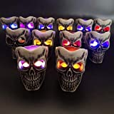 6 Pack Halloween Skull Lights, Halloween Skeleton Skull Lights Candle with Battery, Haunted House Creating Horror Skull Lamp Decoration for Outdoor Indoor Party