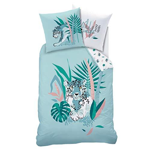 Matt&Rose Juego de ropa de cama de leopardo, 135 x 200 cm, ropa de cama para niña, estilo salvaje, flores y hojas, funda de almohada de 80 x 80 cm y funda nórdica de 135 x 200 cm, 100% alg
