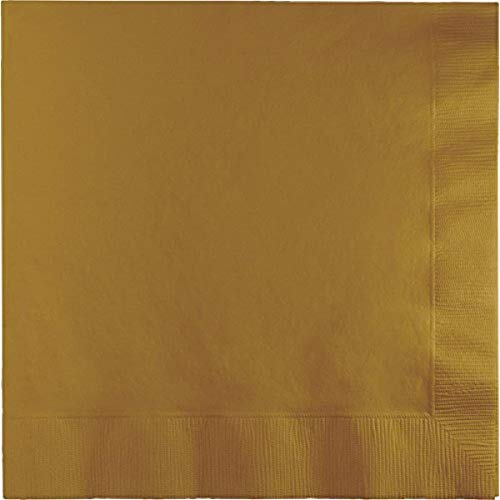 Creative Converting 663276B Touch of Color 2-Ply Paper Lunch Napkins (50 Count), Glittering Gold Indiana