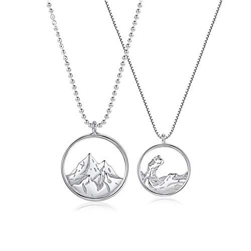 N/A. 2 unids/set minimalista amantes montañas ríos tallados amistad collar collar kit regalos para mujeres hombres, pareja para siempre amor accesorios de joyería