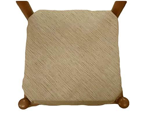mauro galettes de Chaise à Rabats Coussins chaises-Lot de 6-Tissu-avec Fermeture éclaire-Tissu Jacquard Chenille (Beige)
