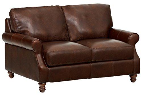 "Amazon Brand – Stone & Beam Charles Classic Oversized Leather Loveseat, 63""W, Walnut"