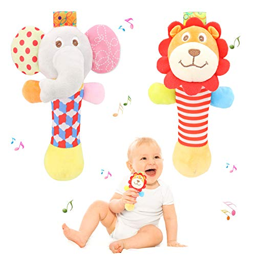 Bloobloomax Hand Baby Rattles Toys Soft Animal Plush Animal Doll Newborn Gift for 6months/1year/2years/3years Old Boys…