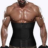 Men Sauna Sweat Waist Trainer Belt Neoprene Trimmer Workout Fat Burner Band Exercise Cincher Shaper Belly Wraps for Weight Loss (Black Waist Trainer Belt, XL)