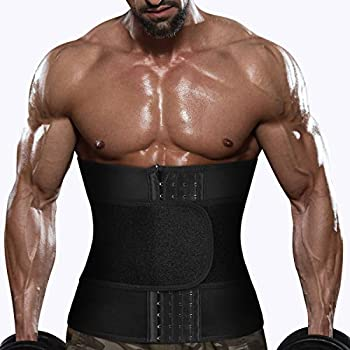 Men Sauna Sweat Waist Trainer Belt Neoprene Trimmer Workout Fat Burner Band Exercise Cincher Shaper Belly Wraps for Weight Loss  Black Waist Trainer Belt L
