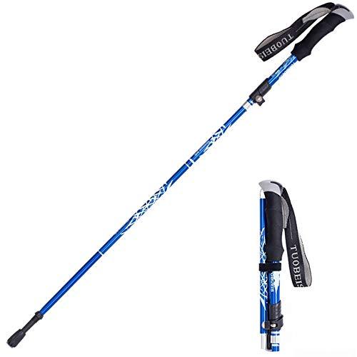 HXXBY Pole Trekking Aleación de Aluminio Ultra Luz Telescópica Plegable Senderismo Escalada Montaña Stick Stick Bating Basking Stick Stick Equipo al Aire Libre (Color : Azul, tamaño : Long)